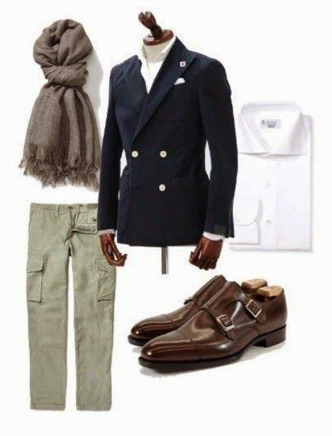 Yep definitely my style. Chino, double monks and blue jacket.