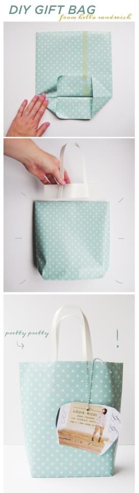 Make your own gift bag for any occasion! So simple - just think tiny to big bags!! This would work with fabric too.