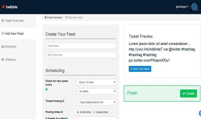 Twibble es una práctica herramienta que nos permite programar el envío de tweets a partir de cualquier feed RSS. También adjunta las imágenes en los tweets.