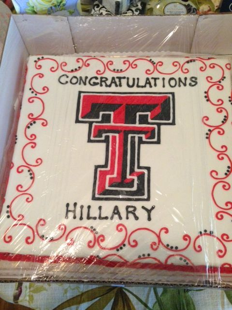 1/2 sheet Texas Tech cake.  It fed all our guests (50+)