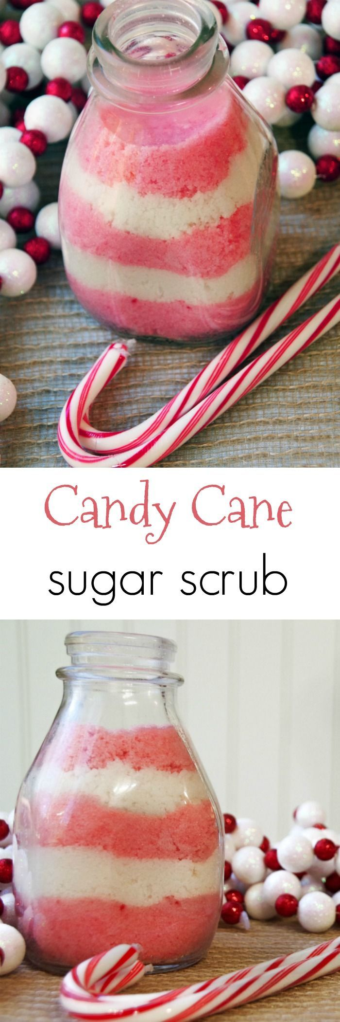 This candy cane sugar scrub recipe is a simple homemade beauty product that is both beautiful and functional!