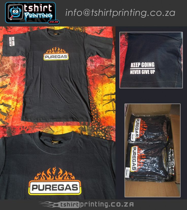 custom logo tweak pure gas tshirts printed, keep going / never give up sleeve print, tshirts printed and ready for shipping in box