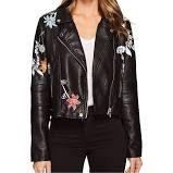 Blank NYC Vegan Leather Graphic Moto Jacket in Secret Keeper Women's Coat Secret Keeper : MD