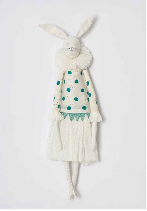 Pierrot Hare by Alice Mary Lynch. Alice has worked as a designer in Paris for John Galliano, Christian Dior and Sonia Rykiel. She now dedicates her time to making these whimsical animal characters, which she brings to life in her Somerset studio from vintage textiles and treasures.