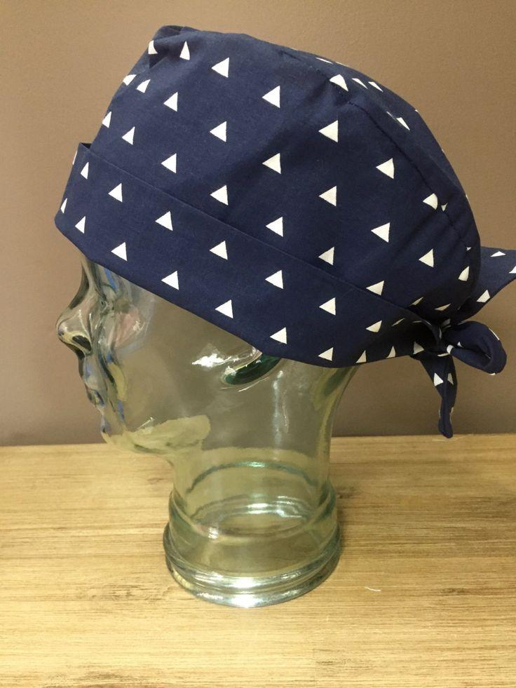 Navy Triangle Surgical Scrub Hat, Women's Modern Scrub Cap, Custom Caps Company by CustomCapsCompany on Etsy