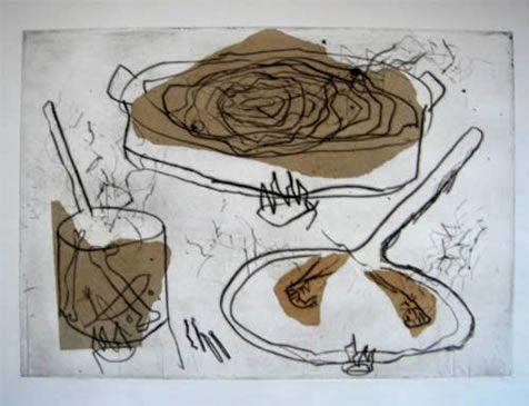 """Miquel Barceló Grabado a la Punta Seca y Collage """"Bodegon""""  1984  49.5 x 64.5 cm  Tirada de 34 ejemplares  Numerado y firmado a mano  Enmarcado  Precio: 6.000 €"""