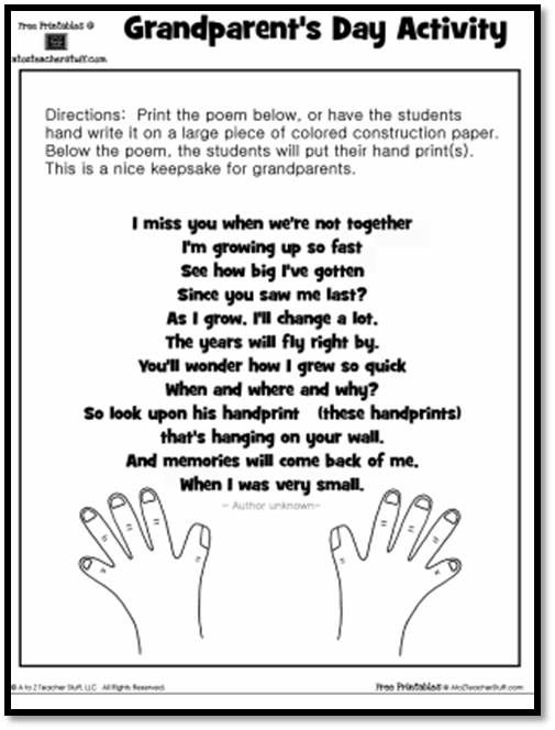 Keepsake Handprint Poem Grandparents Day Activity printable