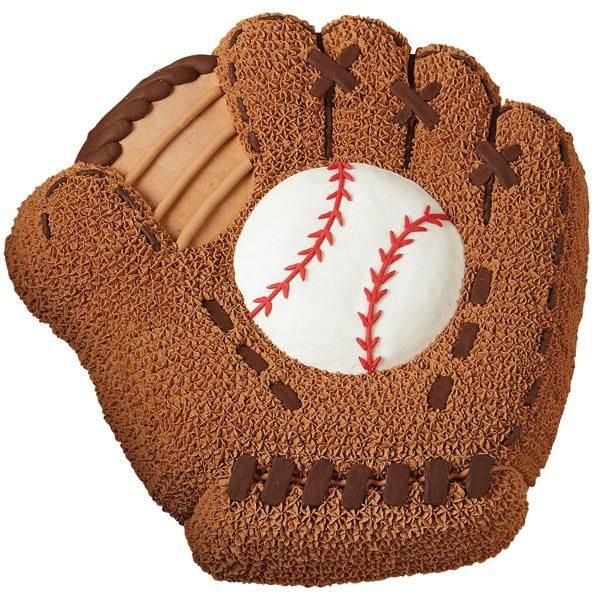 Baseball Mitt Cake - Commemorate your favorite team's Opening Day, the first Little League game, or a baseball fanatic's birthday with a cake designed to catch everyone's interest. The Baseball Mitt pan creates this detailed shape with ease!