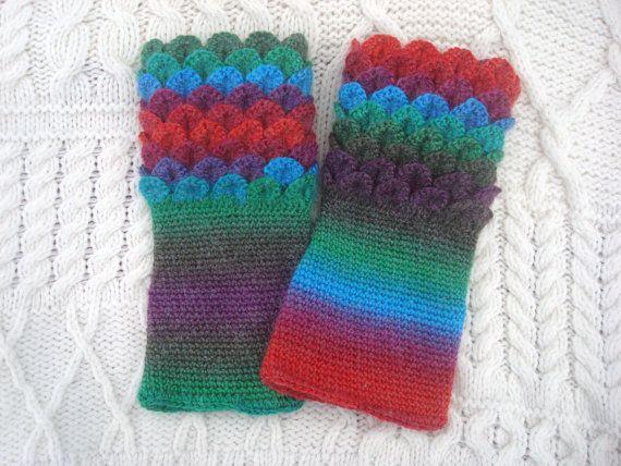 Funky Rainbow Crochet Wrist Warmers Crocodile by SelkieCrochet, $25.00