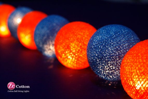 #ZeCotton for 2 tones :20 mixed Blue and Orange Cotton Ball String Lights Fairy lights Party Decor Wedding Garden Spa and Holiday Lighting.