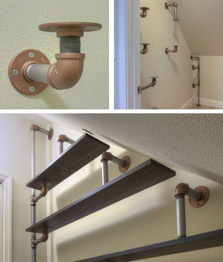 industrial galvanized pipeshelves under stairs - doesn't take up much space but offers more storage