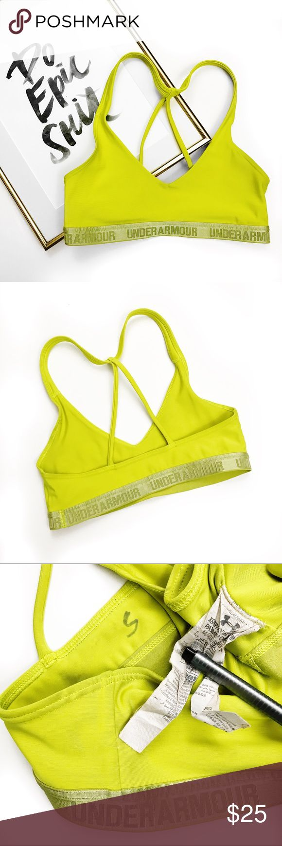 Under armour neon strappy reflective band bra Super chic! No trades. All photos are my own of the actual item you will receive. Send me an offer! Great condition! Under Armour Intimates & Sleepwear Bras
