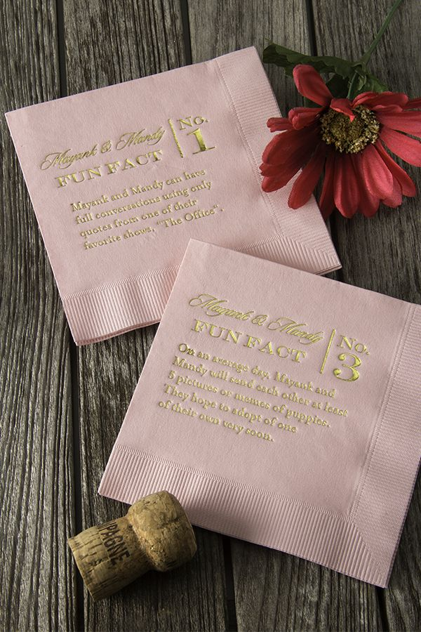 These personalized wedding napkins are not only pretty, but will keep your guests entertained with the fun facts about the bride and groom. Visit www.foryourparty.com for more wedding ideas.