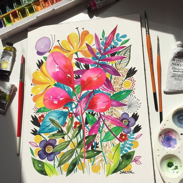 watercolour meditation in the sunny spot... #watercolor #painting #spring #sunnyspot #watercolour #flowers #arches #danielsmith #whitenights #pink by helen_dardik