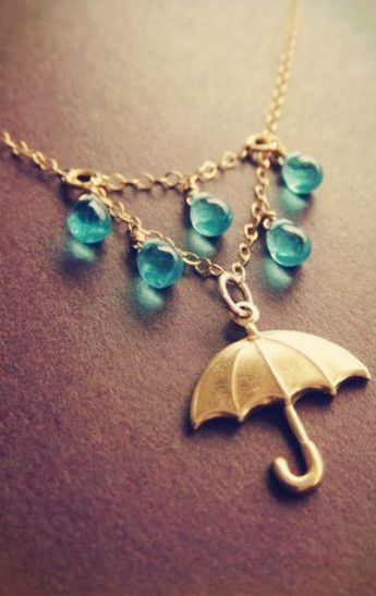 Umbrella and raindrop necklace