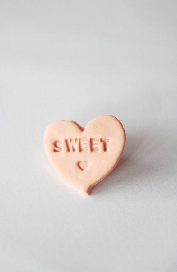 Sweet Heart Conversation Candy Heart Badge by wewerewarriors, $14.00