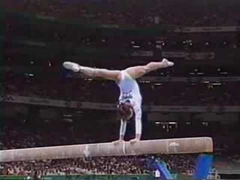 Dominique Moceanu - 1996 Atlanta Olympic - BB    they just dont perform skills that/like they used to