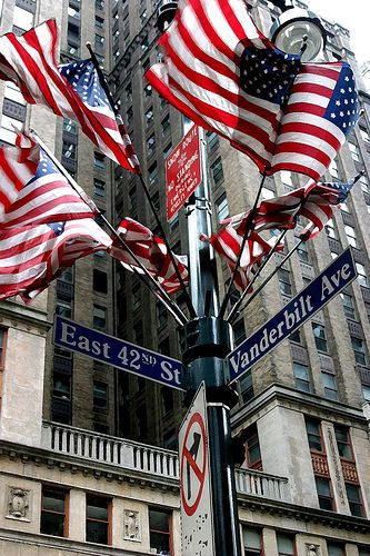 East 42nd St, New York City -- Midtown East, Manhattan: East 42Nd, Newyorkcity, American Flag, Nyc, New York City, Red White