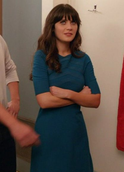 Zooey Deschanel's Teal blue dress from New Girl.  Outfit Details: http://wwzdw.com/z/1741/ #WWZDW