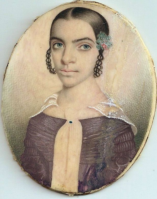 "Ivory Portrait Miniature by some believed to be Thomas Jefferson's daughter Harriet that he had with his slave Sally Hemings. It is believed she was very light skinned and could ""pass for white""."