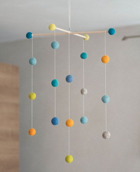 Beautiful Felt Ball Mobile In Beautiful Bright Colors. To Hang Over The  Crib Or Changing Table. This Mobile Has A Suspension With Felt Balls.
