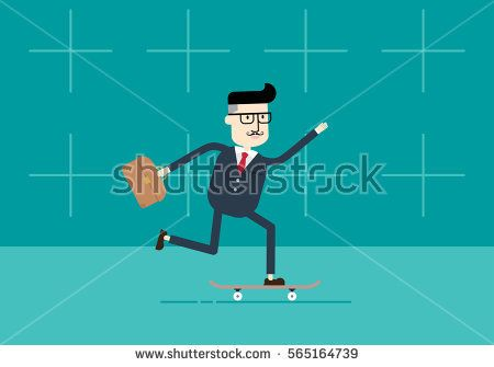 Businessman suit on skateboard walking, Man hurrying to his office.