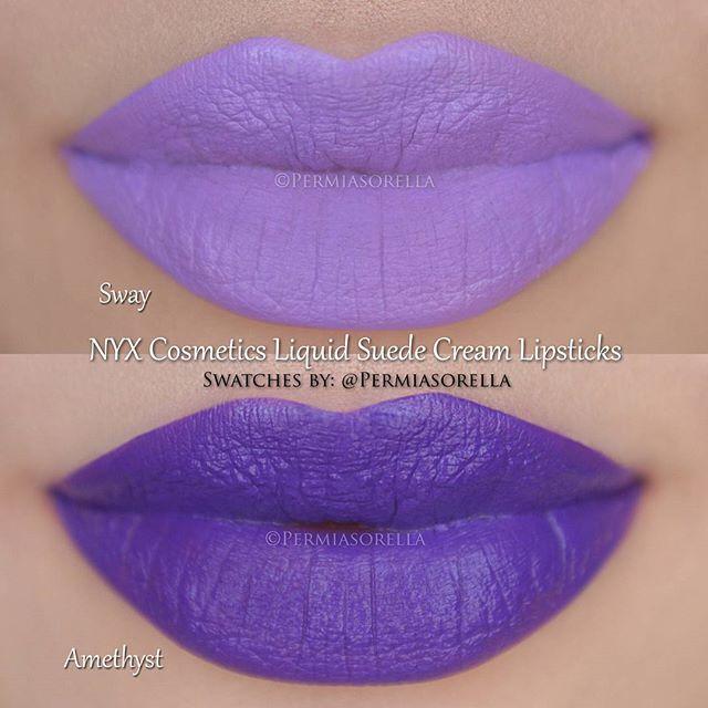 NYX Liquid Suede Cream Lipsticks in 'Sway' and 'Amethyst ...