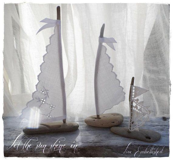 Set of Three Driftwood  Beach Decor Sail Boat Antique Lace and White Linen Sails Coastal Beach House Cottage Beach Seaside Wedding
