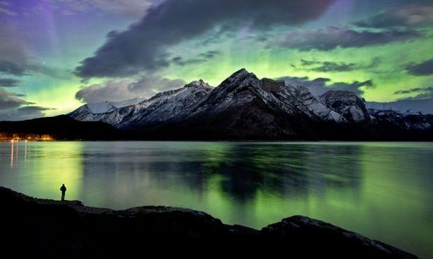 The northern lights at Lake Minnewanka, Banff National Park