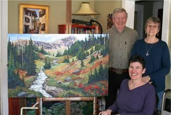 """Don & Mary Charlton & myself with their new painting called """"First Peak"""".  Private collection in Jaffray, BC  www.CapriceArtStudio.com"""