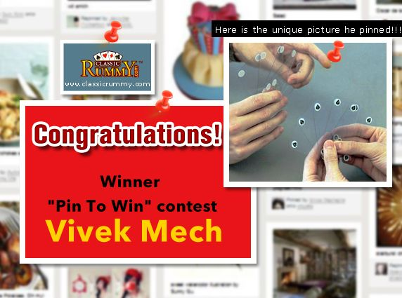 "Congratulations ""VIVEK MECH"" - You are our ""Pin To Win"" Contest Winner!!!  Here is the unique picture he pinned!!!  You have won Rs. 100/- cash free...  Thanks for participating and keep checking for more contests and promos.  To know more about the check the link below: http://blog.classicrummy.com/classic-rummy-on-social-media/pin-your-interest-at-classic-rummy-to-win-cash/"