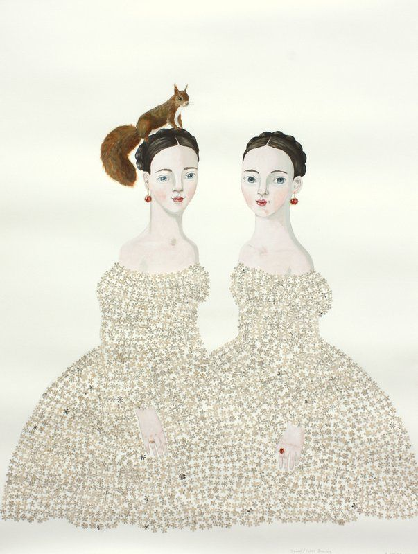 Squirrel Sisters by Anne Siems 50 x 38, 2012