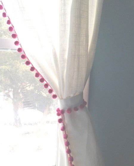 Classic  White with Pink Pom Pom Fringe by ChesapeakeCottage