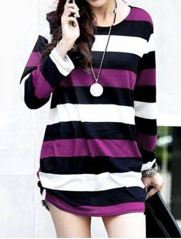 Casual Round Neck Long Sleeve Striped Maternity Women's T-Shirt T-Shirts | RoseGal.com Mobile