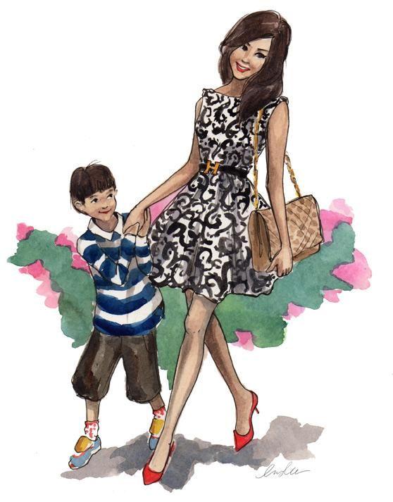 текстура имитирует картинки фэшн иллюстрации мама и дочь как хороший