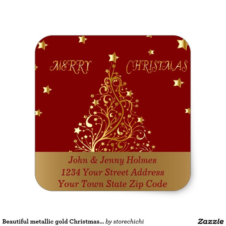 Beautiful metallic gold Christmas tree on dark red