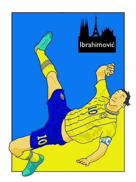 This listing is for a 16 x 12 print of my Zlatan Ibrahimović Sweden artwork. Printed on a quality matt photo paper, this is perfect for framing.