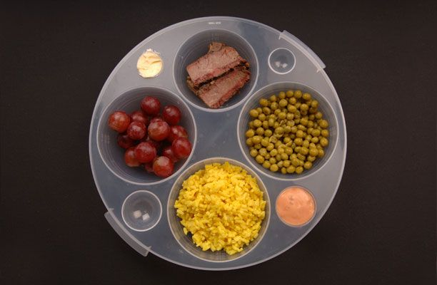 The plate is designed to be compatible with nutritional guidelines from the American Diabetes Association, and comes with a sample meal chart and a list of common items in each of the food groups with proper portion sizes.