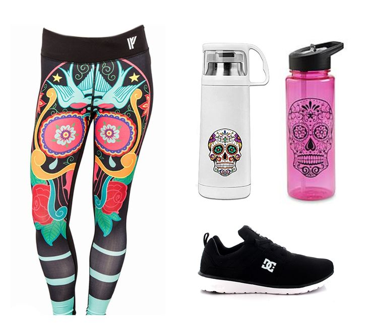 "Nice and colourful ""skulltastic"" patterns for you daily gym visits!   Leggings: www.ironfist.com White water bottle: www.amazon.com Pink water bottle: www.sears.com Shoes: www.dcshoes.com"