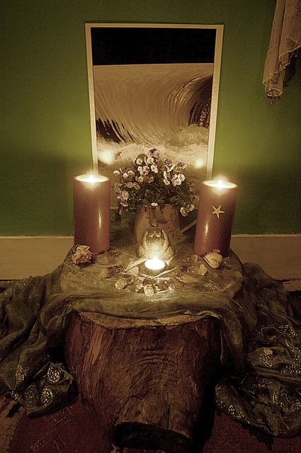 Beautiful Mother Earth nature altar