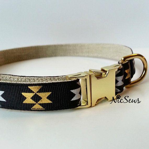 Dog Collar Gold dog collar Geometric dog collar Modern by NicSews