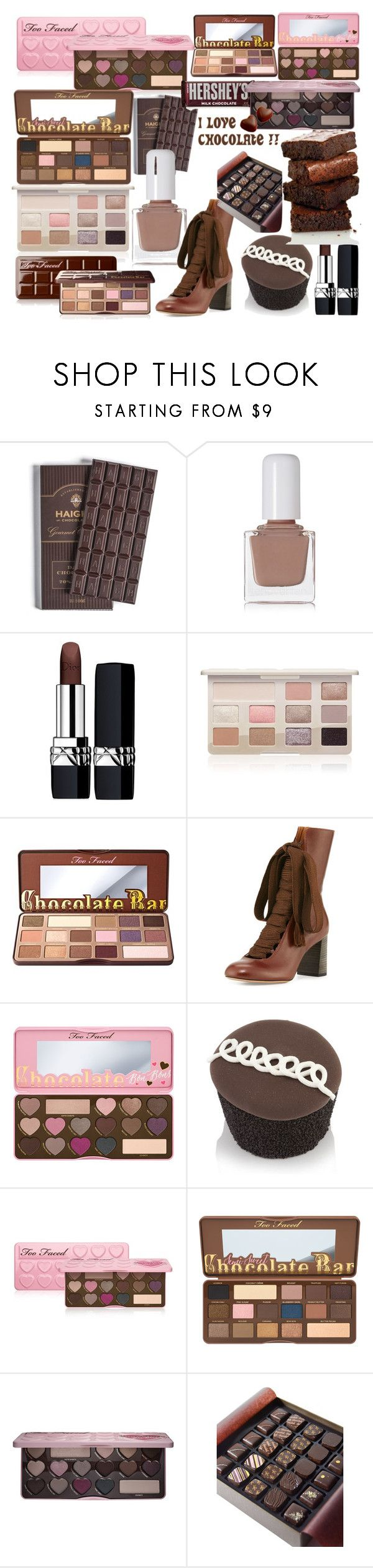 """""""Chocolate"""" by andieok on Polyvore featuring beauty, tenoverten, Christian Dior, Too Faced Cosmetics, Chloé, Hershey's, chocolate and choc"""