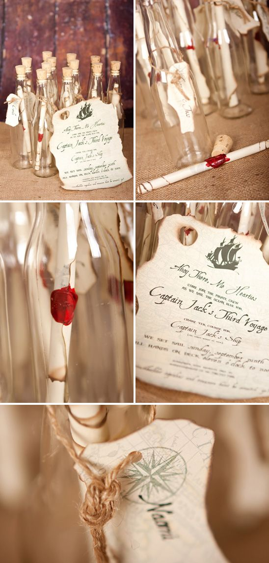 """""""Message in a Bottle"""" Invitations for a Pirate Themed Birthday Party"""