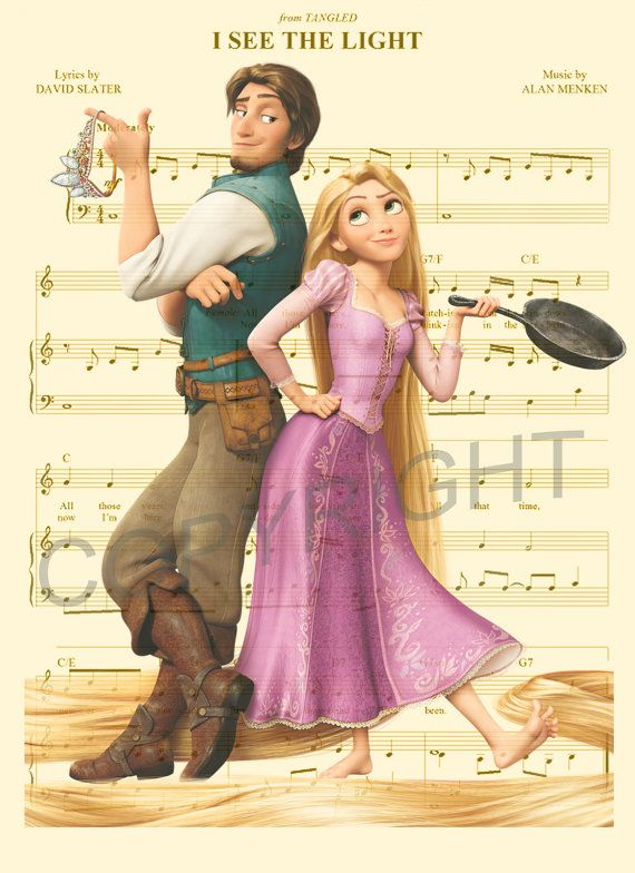 Tangled Rapunzel and Flynn Rider Dictionary Art by AmourPrints