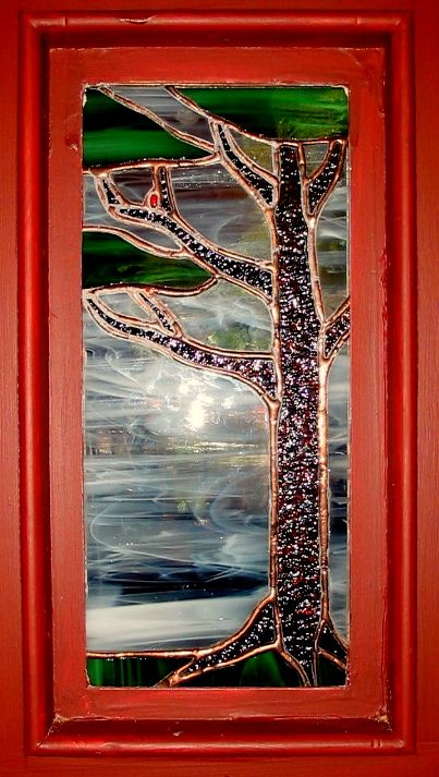 Stained glass front door insert - backside. Original design by Kelly Haggard Olson. All Rights Reserved.
