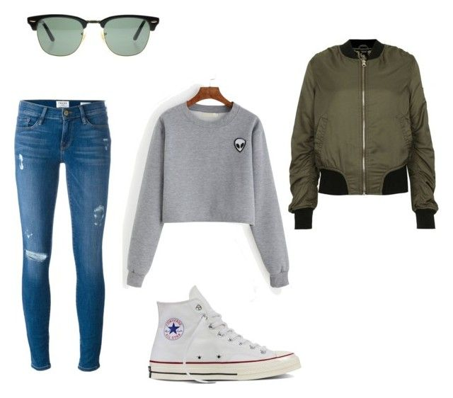Untitled #11 by elenisgourou on Polyvore featuring polyvore moda style Topshop Frame Denim Converse Ray-Ban fashion clothing