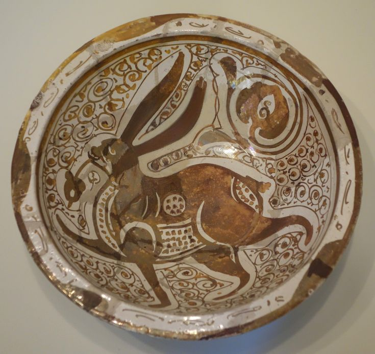 hare on bowl from Fatimid period Egypt