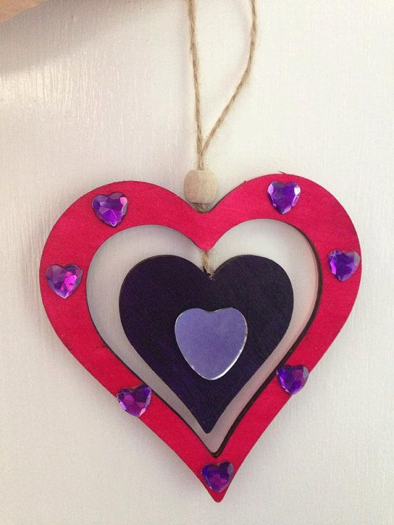 Wooden Heart Mobile by WitchCraftCrafts on Etsy, €6.01