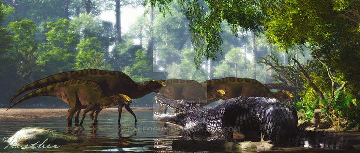 Deinosuchus Kritosaurus by PaleoGuy