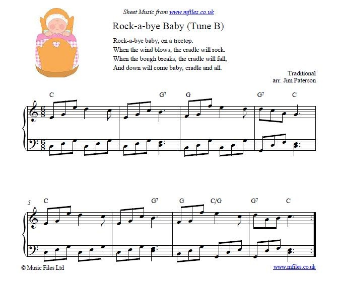 Rock A Bye Baby Tune B Nursery Rhyme And Lullaby